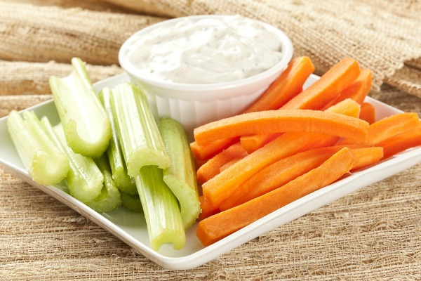 hommus, carrots, celery